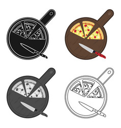 Pizza on cutting board icon in cartoon style vector