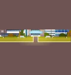 road to modern hospital building exterior clinic vector image vector image