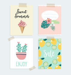 set of hand drawn summer greeting or journaling vector image vector image