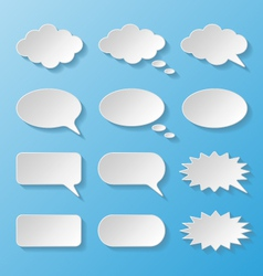 Set of paper speech bubbles vector image