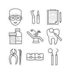 set of stomatological objects icons vector image vector image