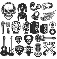 set of the rock music design elements guitar shop vector image