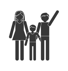 Silhouette family mom dad and son together members vector