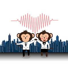 Successful team of doctor monkey giveing high five vector