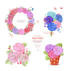 summer set of hydrangeas wreath bouquets and vector image vector image