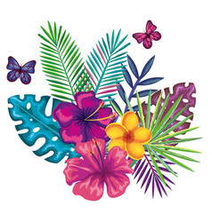 Tropical and exotics flowers with butterflies vector