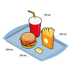 Fast food set calorie dishes big fresh hamburger vector
