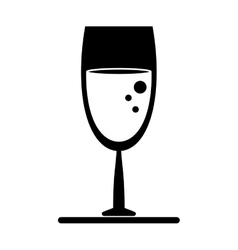 Silhouette glass wine drink bubbles vector