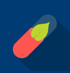Pill icon flat single medicine icon from the big vector