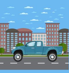 Modern pickup truck in urban landscape vector