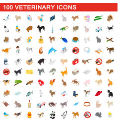 100 veterinary icons set isometric 3d style vector