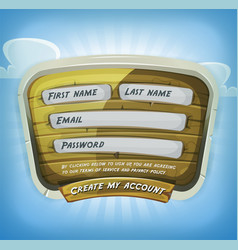 login form on wood panel for game ui vector image