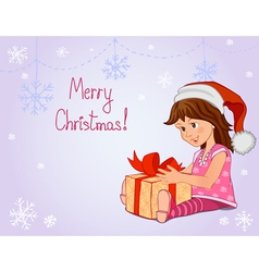 Little girl with christmas gift vector