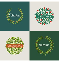 Set of Christmas wreaths with red holly berries vector image