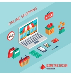 E-commerce and online shopping flat 3d isometric vector