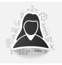 Drawing business formulas woman vector