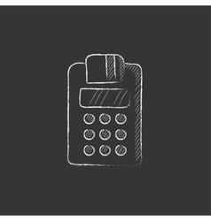 Cash register drawn in chalk icon vector