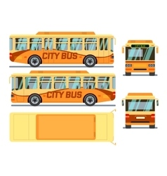 Urban city bus in different view positions vector