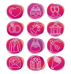 Set with wedding icons - vector image