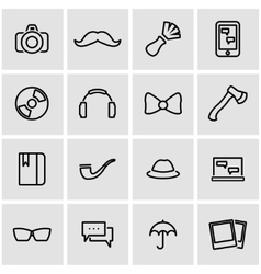 line hipster icon set vector image