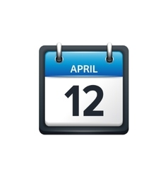 April 12 Calendar icon flat vector image vector image