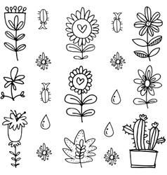 Art of flower set doodles vector