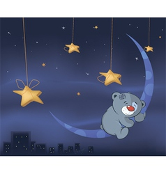 Bear cub and the moon cartoon vector image