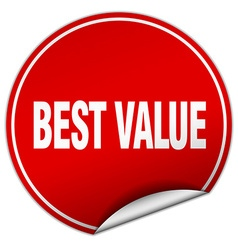 Best value round red sticker isolated on white vector