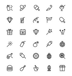 Celebration line icons 5 vector