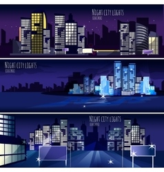 City Nightcape 3 Banners Set vector image vector image