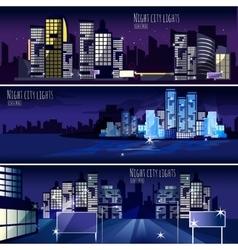 City nightcape 3 banners set vector