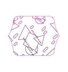 Color edge quadrate with memphis geometric style vector