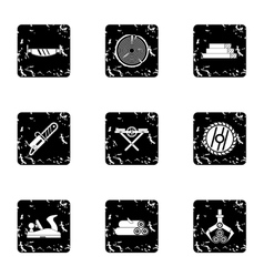 Cutting down trees icons set grunge style vector