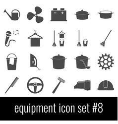 equipment icon set 8 gray icons on white vector image