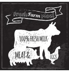 Farm poster chalkboard vector