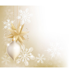 gold snowflake and christmas bauble background vector image vector image