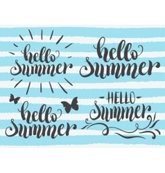 Hello summer hand lettering set vector image