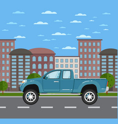 Modern pickup truck in urban landscape vector