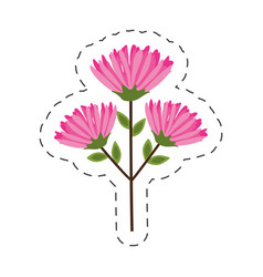 Pink flower branch cut line vector