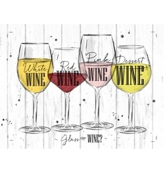 Poster types of wine vector image vector image