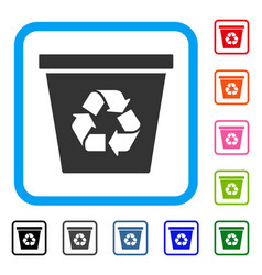 recycle bin framed icon vector image vector image