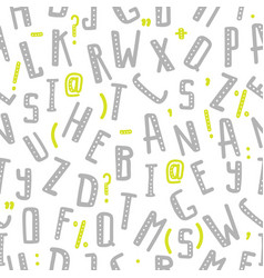 seamless pattern with gray letters of the alphabet vector image vector image
