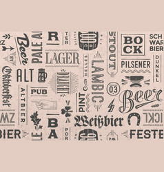 seamless pattern with types of beer and hand drawn vector image vector image