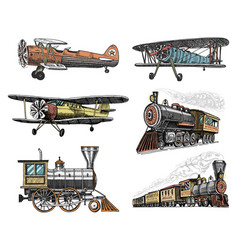 set of passenger train and airplanes corncob or vector image vector image