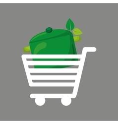 Shopping cart food vegan vector