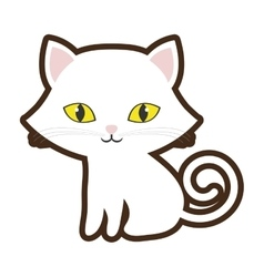 small cat sitting yellow eyes vector image vector image