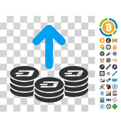 Spend dash coins icon with bonus vector