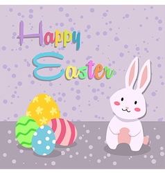 Spotted easter egg rabbit greeting card vector