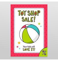 Toy shop sale flyer design with toy ball vector