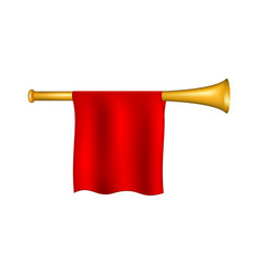 Trumpet with red flag vector